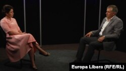 Natalia Morari și Ion Sturza la discuția din studioul Europei Libere
