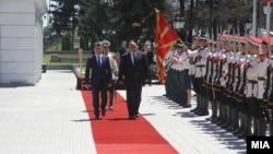 Архивска фотографија: Премиерот на Бугарија Бојко Борисов, заедно со висока делегација, во официјална посета на Македонија на 1 август 2017