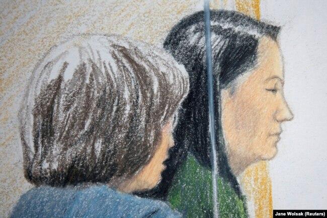 Мэн Ваньчжоу в суде