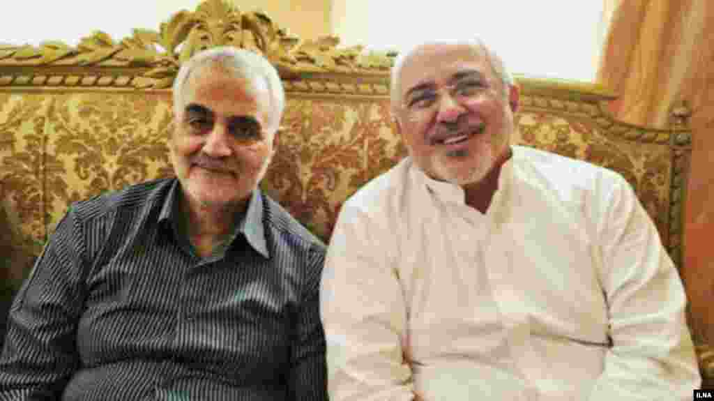 Iranian Foreign Minister Mohammad Javad Zarif meeting with Soleimani in May 2017.