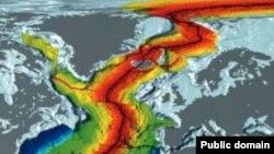 Возраст коры на дне Атлантического океана. Серым цветом обозначена суша. Красным — выделены самые молодые области в районе срединного океанического хребта — они моложе 10 миллионов лет. U.S. National Oceanic and Atmospheric Administration.