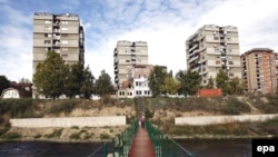 The foot bridge constructed by NATO and UN peacekeepers in the ethnically divided town of Mitrovica