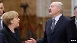 Германската канцеларка Ангела Меркел и белорускиот претседател Александар Лукашенко, Минск, 12 февруари 2015