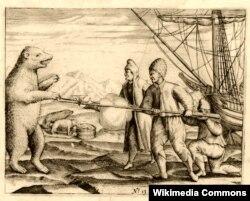 Столкновение участников экспедиции Баренца с полярным медведем. Рисунок Геррита Де-Фера
