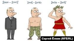 Etapele regimului Putin. Caricatură de Serghei Elkin.