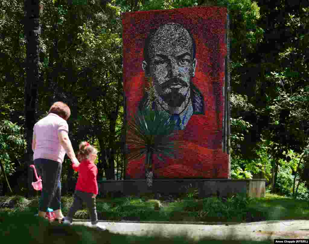 A Lenin mural in the grounds of an old sanatorium.