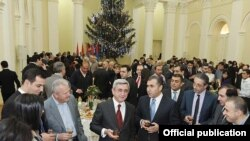 Armenia -- President Serzh Sarkisian at a New Year reception for media chiefs and journalists, 28Dec2010.