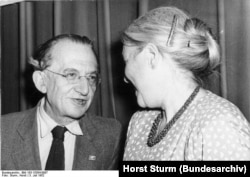 Hungarian philosopher Gyorgy Lukacs (left) with Anna Seghers, 3 July 1952