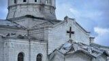 Нагорный Карабах - Собор Сурб Аменапркич Казанчецоц в Шуши после ракетного обстрела, 8 октября 2020 г․