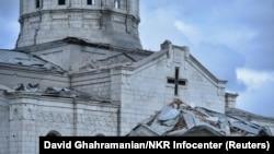 Церковь Газанчецоцв Шуши после ракетного обстрела, 8 октября 2020 г.