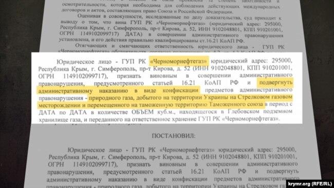 Постановление подконтрольного России крымского суда о конфискации газа