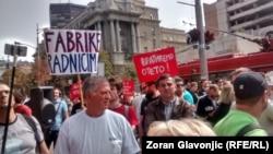 Protest radnika pred Vladom Srbije