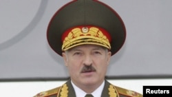 President Alyaksandr Lukashenka at a May military parade in Minsk