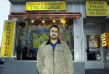 Sweden -- Swedish-Palestinian Ghusub, a Muslim poses outside his restaurant in Arvidsjaur during the holy month of Ramadan, 13Nov2003