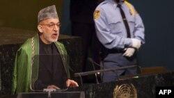 Ооганстандын президенти Хамид Карзай БУУнун Башкы ассамблеясында сүйлөп жатат. Нью-Йорк, 26-сентябрь.