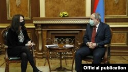 Armenian Prime Minister Nikol Pashinian meeting with Sweden's Foreign Minister and OSCE Chairperson-in-Office Ann Linde, Yerevan, March 16, 2021