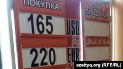 Табло с курсами валют в обменном пункте Астаны.