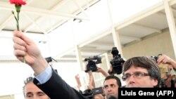 Президент Каталонии Карлес Пучдемон. Сан-Жульян-де-Рамис, 1 октября 2017 года.