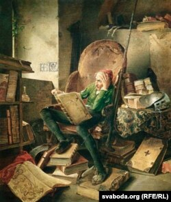 """ადოლფ შრიოდტერი, """"დონ კიხოტი სავარძელში ზის და კითხულობს""""."""