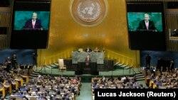 Генеральный Секретарь ООН Антониу Гутерриш выступает перед Генеральной Ассамблеей, 19 сентября 2017 года.