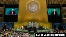 Генеральный секретарь ООН Антониу Гутерриш выступает перед Генеральной Ассамблеей, 19 сентября 2017