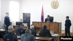 Armenia -- Former President Serzh Sarkisian and four other defendants stand trial in Yerevan, February 25, 2020.