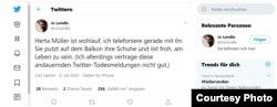 Twitter, replică la anunțul fals despre presupusa moarte a scriitoarea Herta Muller, iulie 2020.