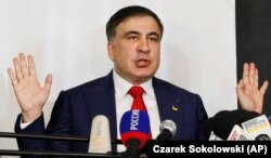 "Saakashvili speaks to reporters in Warsaw on February 13: ""I will be just as effective in Europe as I was in Ukraine."""