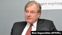 Richard Norland, U.S. ambassador to Georgia, at RFE/RL's Tbilisi bureau