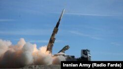 A Sayyad 2 missile is fired by Iran's homegrown Talash air defense system during drills in an undisclosed location in Iran, November 5, 2018. File photo