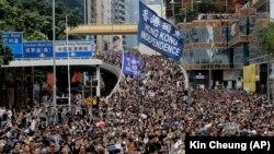 Учасники однієї з попередніх акцій протесту на вулицях Гонконга, 7 липня 2019 року