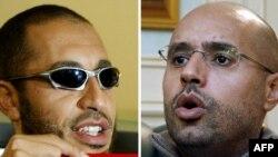 Муаммар Каддафидің ұлдары: Саади (сол жақта) және оның ағасы Сейф әл-Ислам.