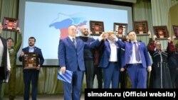 Участники мероприятия к пятой годовщине аннексии в Симферопольском районе