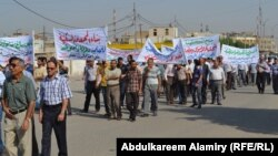 جانب من تظاهرة المعلمين في البصرة