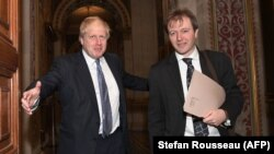 U.K. -- Britain's Foreign Secretary Boris Johnson (L) meets with Richard Ratcliffe, the husband of British-Iranian woman Nazanin Zaghari-Ratcliffe who is jailed in Iran, at the Foreign and Commonwealth Office in London on November 15, 2017.