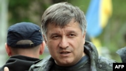 Interior Minister Arsen Avakov stands at a checkpoint near the eastern Ukrainian city of Slovyansk on May 5.