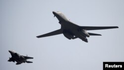 Two B-1B bombers were joined by Japanese and South Korean fighter jets in a 10-hour mission. (file photo)
