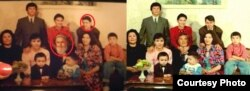 The original Nazarbaev family photo (right) and the altered sitcom family photo (click to expand)