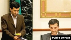"Iranian President Mahmud Ahmadinejad (left) and his chief of staff, Esfandiar Rahim-Mashaei, at a cabinet meeting. Some of the president's critics have called Mashaei the ""actual president."""