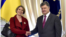 U.K. Ambassador Judith Gough with President Petro Poroshenko (file photo)