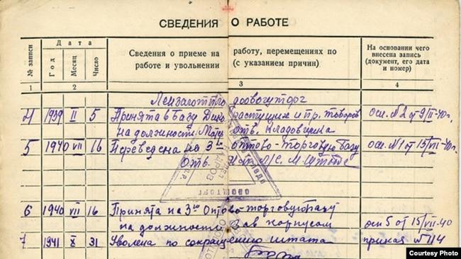 Фрагмент трудовой книжки Антонины Каминской