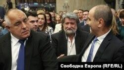 Бойко Борисов, Вежди Рашидов и Цветан Цветанов по време на представянето на листата на ГЕРБ и СДС.