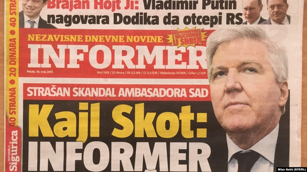 Serbia's Informer daily, featuring U.S. Ambassador Kyle Scott on the cover on May 19.