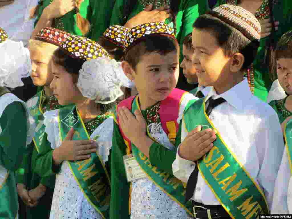 Students wear sashes on the first day of class in Ashgabat, Turkmenistan.
