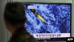 Кадры компьютерного моделирования запуска северокорейской ракеты были показаны телевидением Северной Кореи