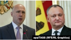 Moldovan Prime Minister Pavel Filip (left) and President Igor Dodon (file photo)