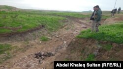 Члены курдских боевых подразделений пешмерга после боя с боевиками ИГИЛ неподалеку от Мосула в декабре 2014 года