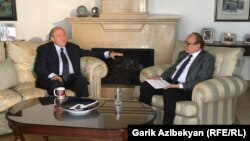 Armenia -- President Armen Sarkissian gives an interview to RFE/RL's Harry Tamrazian, Yerevan, 27Apr2019