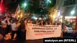 Аргентина -- Акция протеста перед зданием посольства Азербайджана в Буэнос-Айресе, 5 апреля 2016 г․