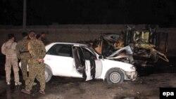 Bombaly hüjüme sezewar edilen polisiýanyň ulagy, Helmand welaýaty, 28-nji fewral, 2016